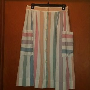 Striped button front skirt
